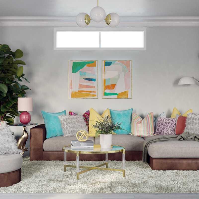 Glam, Preppy Living Room Design by Havenly Interior Designer Dani