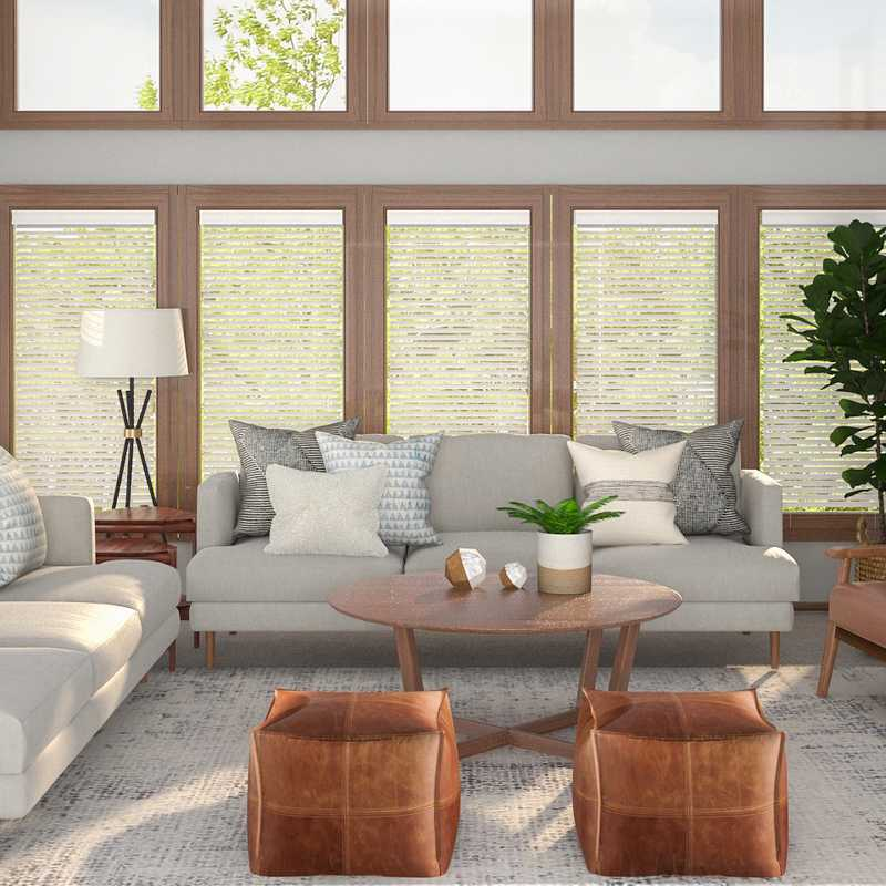 Bohemian, Transitional, Midcentury Modern Living Room Design by Havenly Interior Designer Kaity