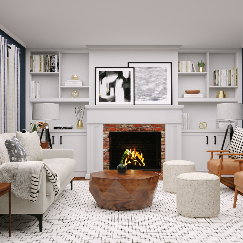Modern, Eclectic Living Room Design by Havenly Interior Designer Alex