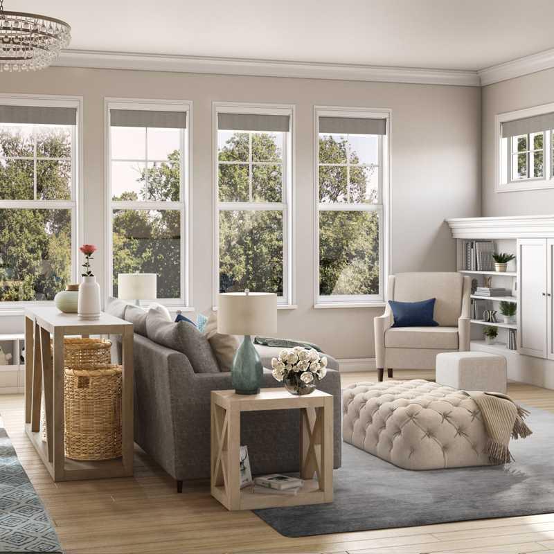 Coastal, Farmhouse Living Room Design by Havenly Interior Designer Marty
