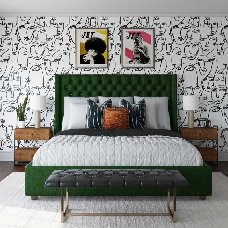 Modern, Glam, Global, Minimal Bedroom Design by Havenly Interior Designer Sierra