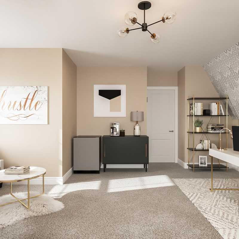 Contemporary, Bohemian, Glam, Scandinavian Office Design by Havenly Interior Designer Randi
