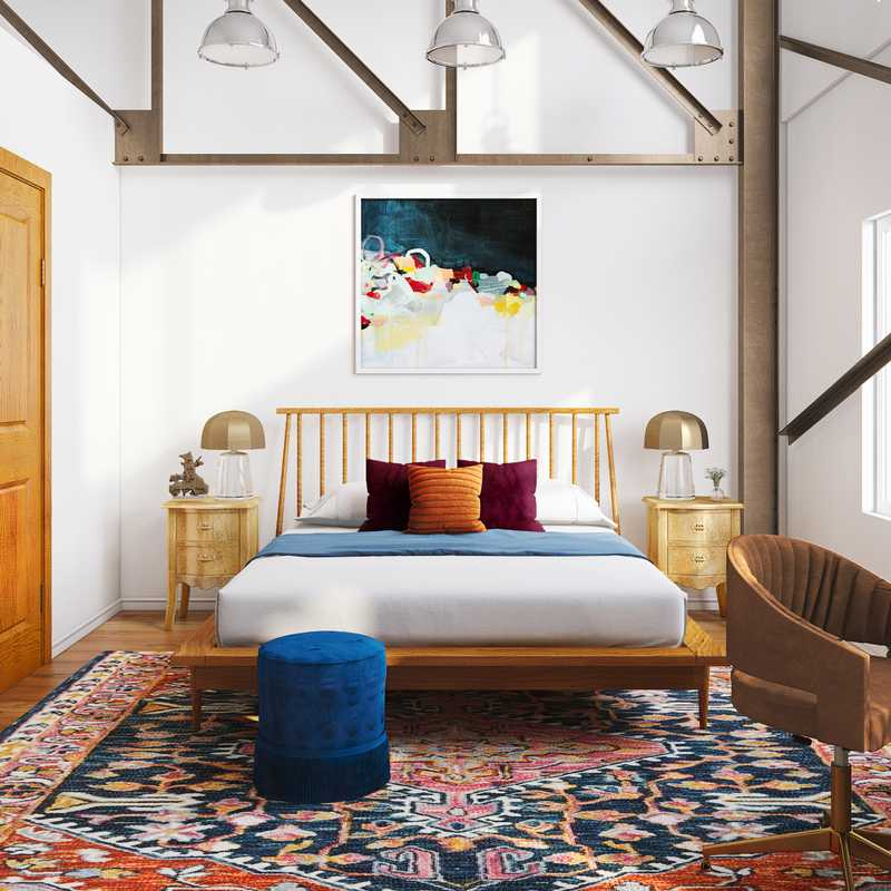 Eclectic, Midcentury Modern Bedroom Design by Havenly Interior Designer Justin