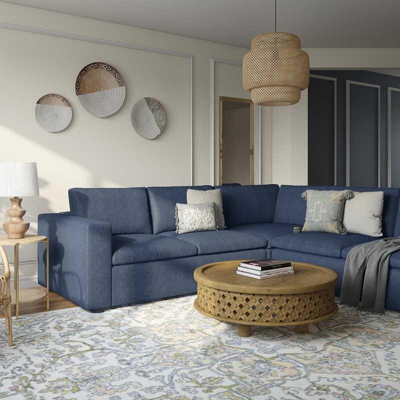Eclectic, Bohemian, Global Living Room Design by Havenly Interior Designer Leslie