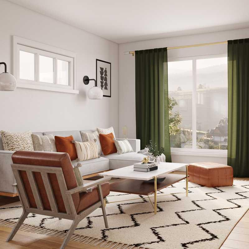 Bohemian, Midcentury Modern Living Room Design by Havenly Interior Designer Jessica