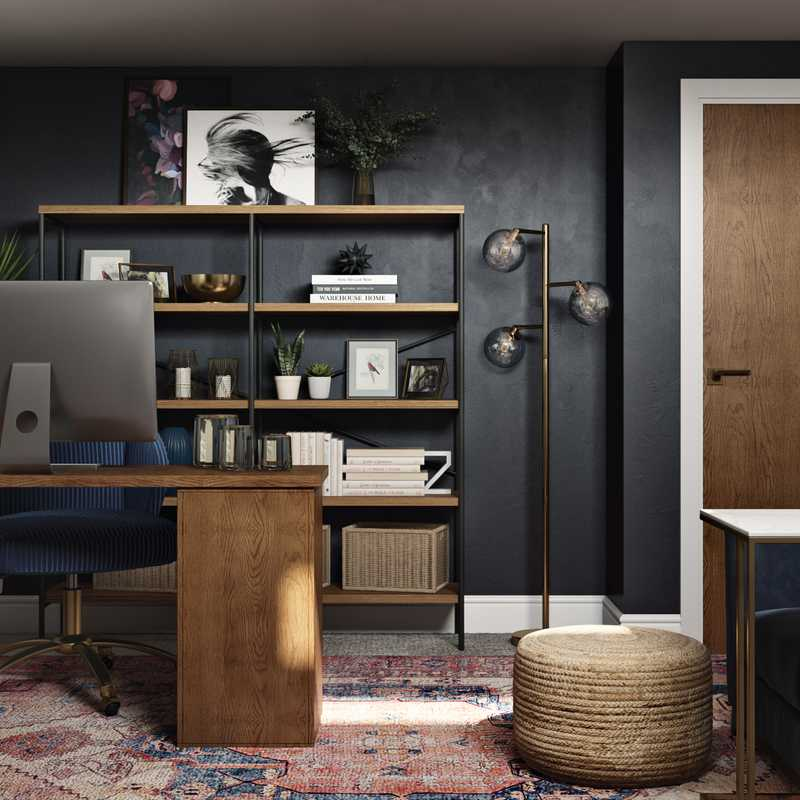 Eclectic, Industrial, Global Office Design by Havenly Interior Designer Erin