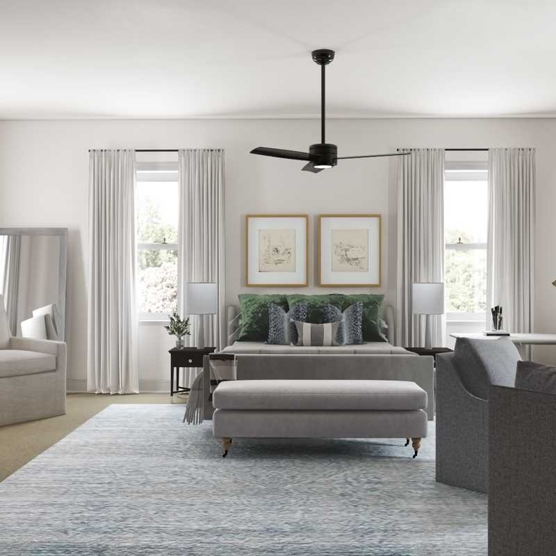 Bohemian, Midcentury Modern Bedroom Design by Havenly Interior Designer Vivian