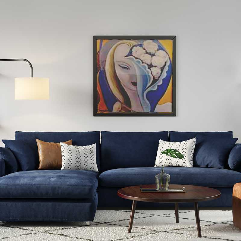 Contemporary, Industrial, Midcentury Modern Living Room Design by Havenly Interior Designer Amanda