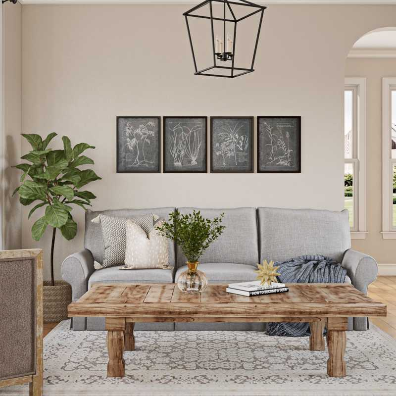 Modern, Industrial, Farmhouse, Vintage Living Room Design by Havenly Interior Designer Regina