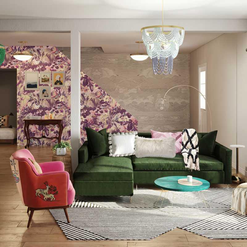 Bohemian, Midcentury Modern Living Room Design by Havenly Interior Designer Daniela