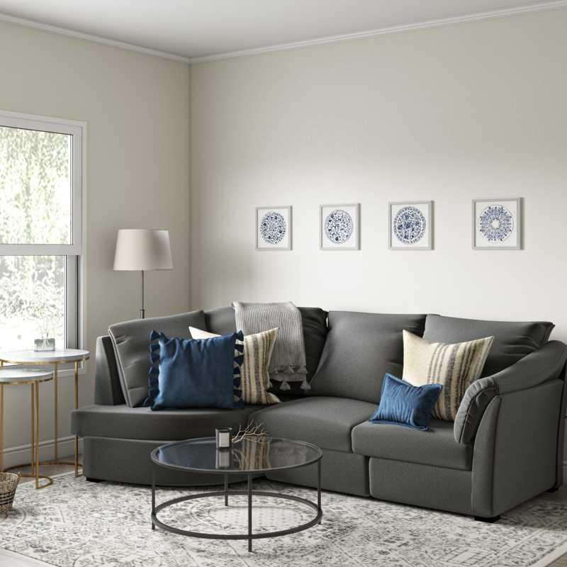 Coastal, Farmhouse Living Room Design by Havenly Interior Designer Sarah