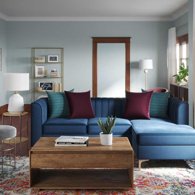 Contemporary, Eclectic, Glam, Midcentury Modern Living Room Design by Havenly Interior Designer Megan
