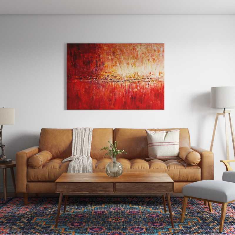 Contemporary, Bohemian, Vintage, Midcentury Modern Living Room Design by Havenly Interior Designer Logan