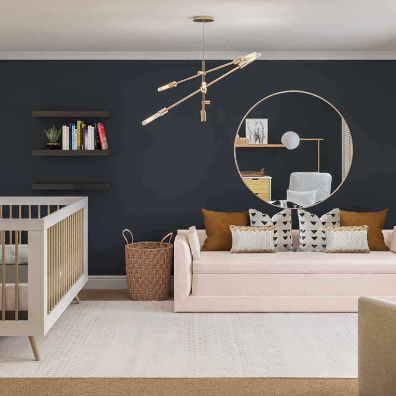Bohemian, Midcentury Modern Nursery Design by Havenly Interior Designer Savannah