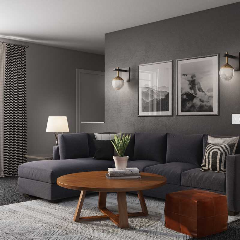 Industrial, Midcentury Modern, Scandinavian Living Room Design by Havenly Interior Designer Tori