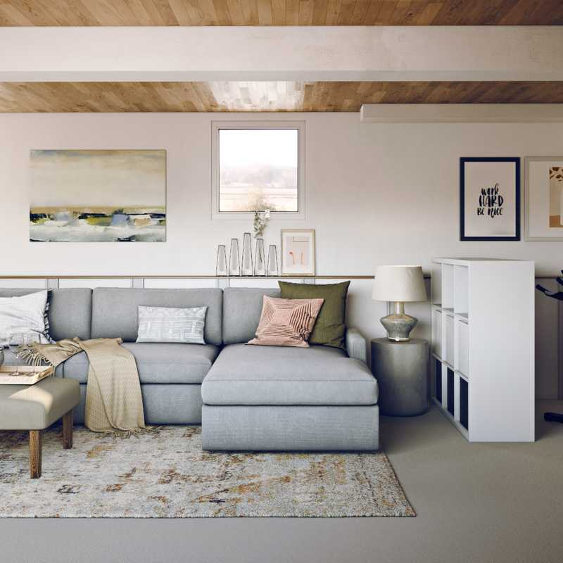 Contemporary, Eclectic, Bohemian, Coastal, Rustic, Transitional, Midcentury Modern, Scandinavian Living Room Design by Havenly Interior Designer Lisa