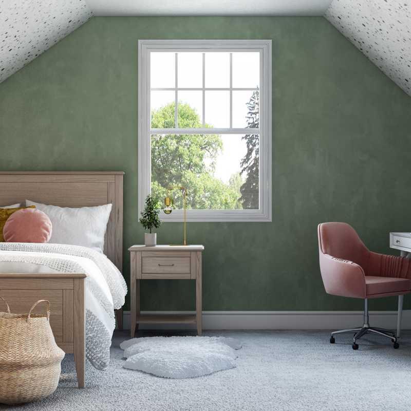 Bohemian, Preppy Bedroom Design by Havenly Interior Designer Chelsea