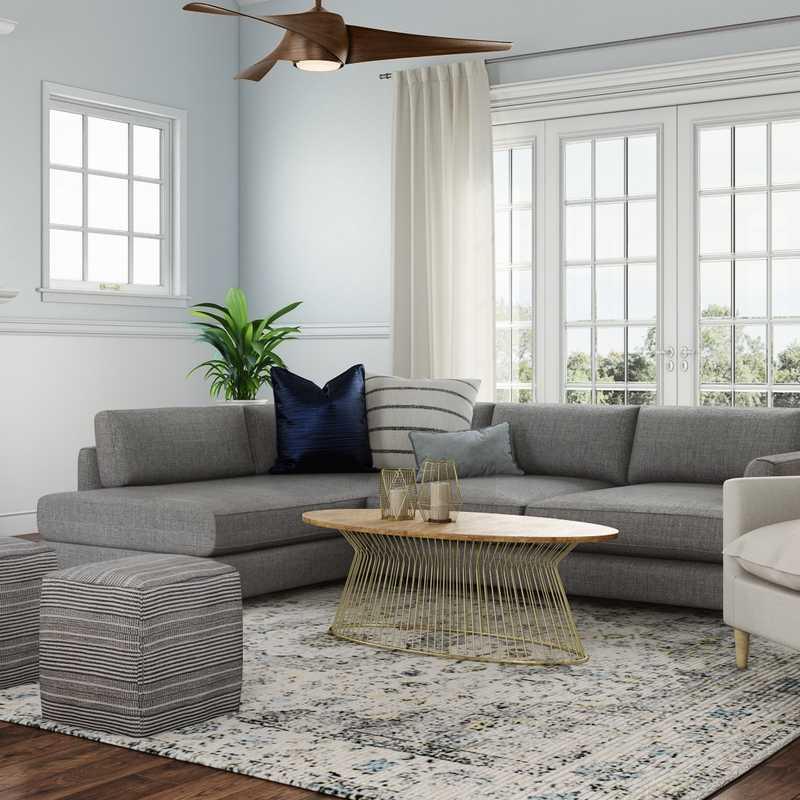 Coastal, Farmhouse Living Room Design by Havenly Interior Designer Cheyenne