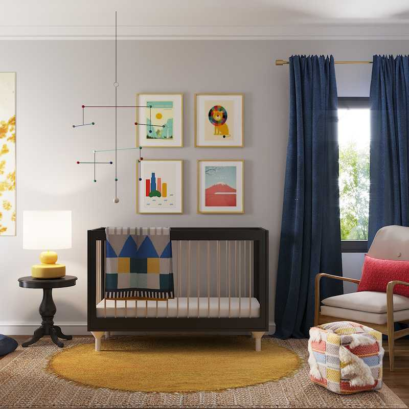 Modern, Bohemian, Midcentury Modern Nursery Design by Havenly Interior Designer Danielle