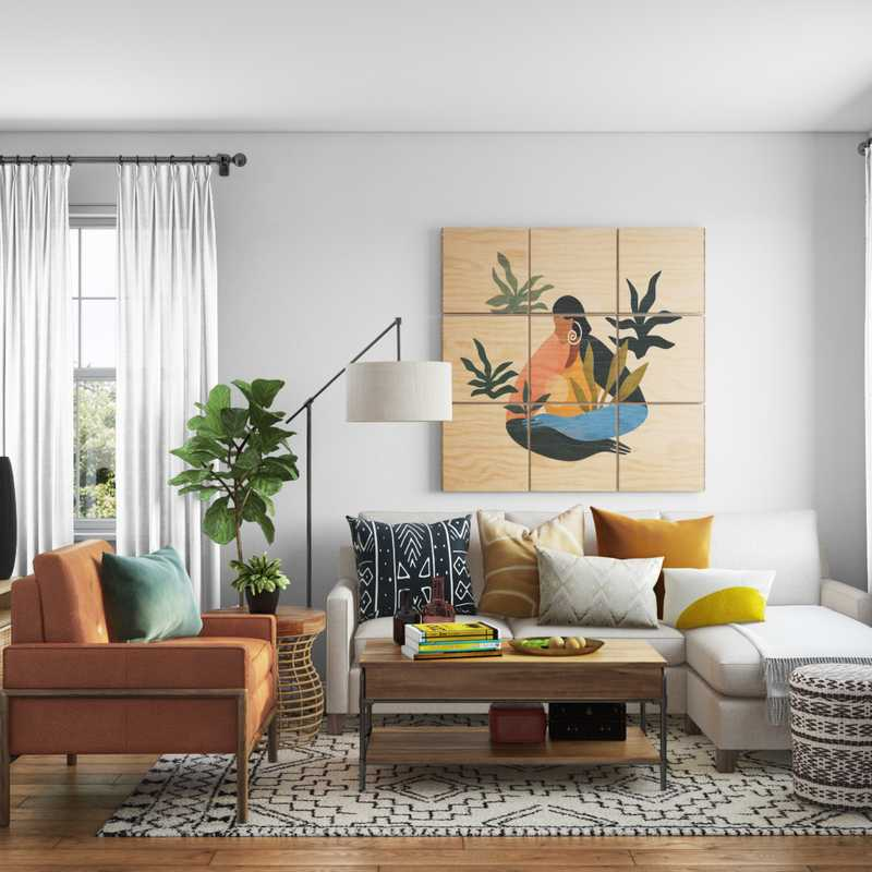 Bohemian, Global, Scandinavian Living Room Design by Havenly Interior Designer Cynthia