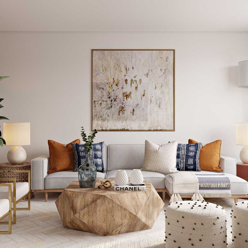 Modern, Glam, Midcentury Modern Living Room Design by Havenly Interior Designer Ghianella