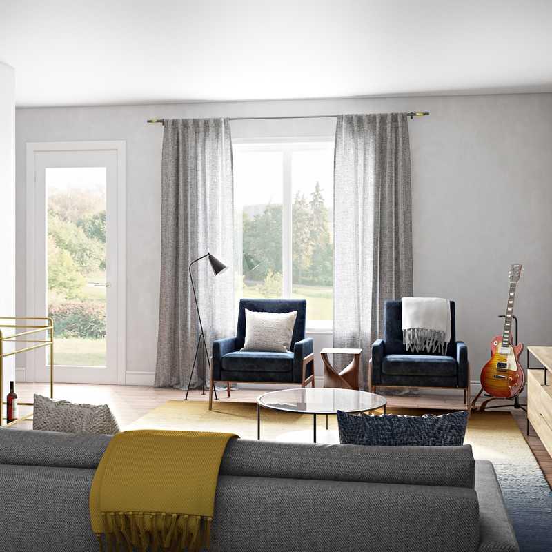 Modern, Midcentury Modern Living Room Design by Havenly Interior Designer Jessie