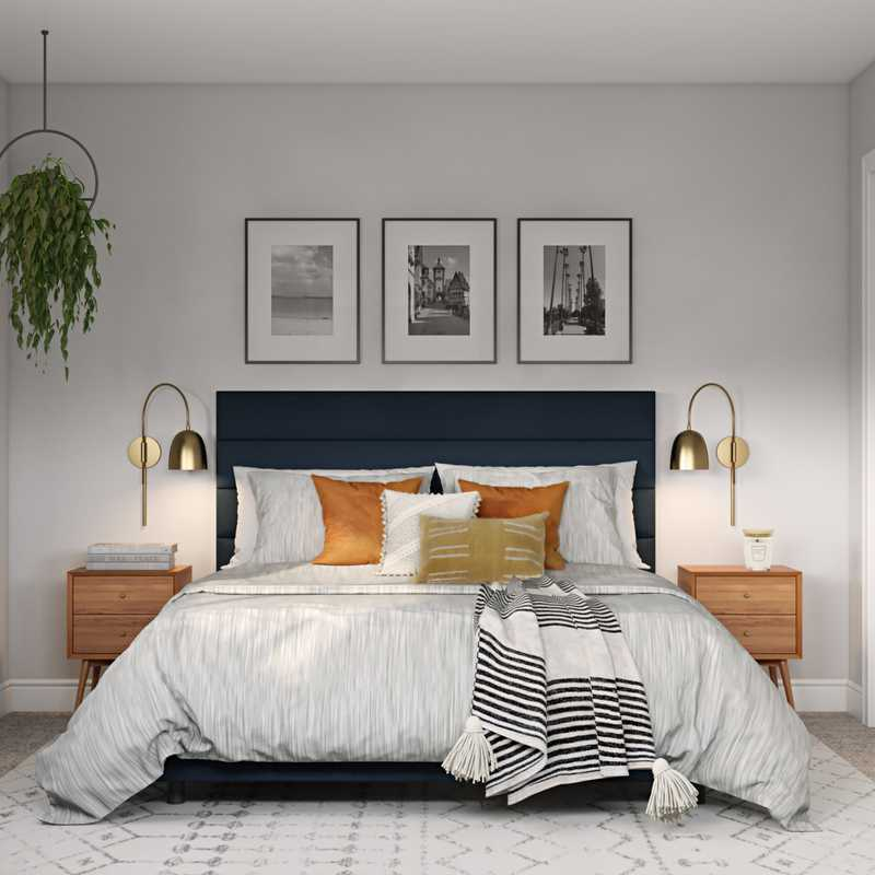 Bohemian, Midcentury Modern, Scandinavian Bedroom Design by Havenly Interior Designer Diana