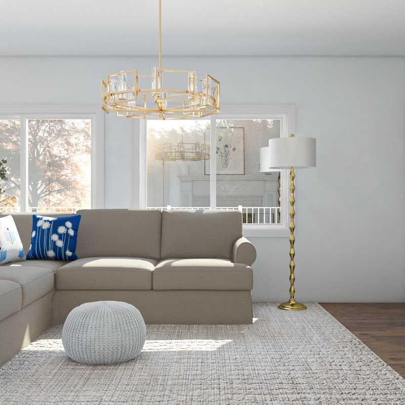 Coastal, Glam, Traditional Living Room Design by Havenly Interior Designer Rhonda