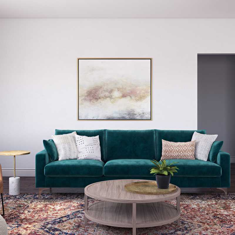 Bohemian, Midcentury Modern Living Room Design by Havenly Interior Designer Isabella