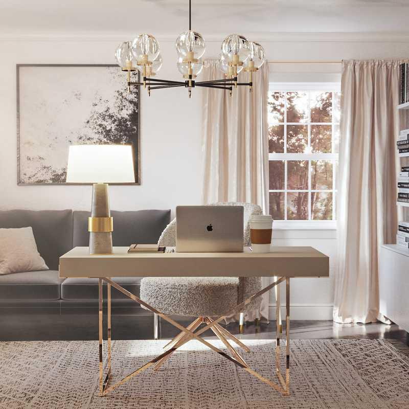 Modern, Glam, Minimal Office Design by Havenly Interior Designer Pradnya