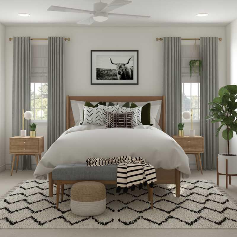 Eclectic, Bohemian, Glam, Global, Midcentury Modern Bedroom Design by Havenly Interior Designer Danielle