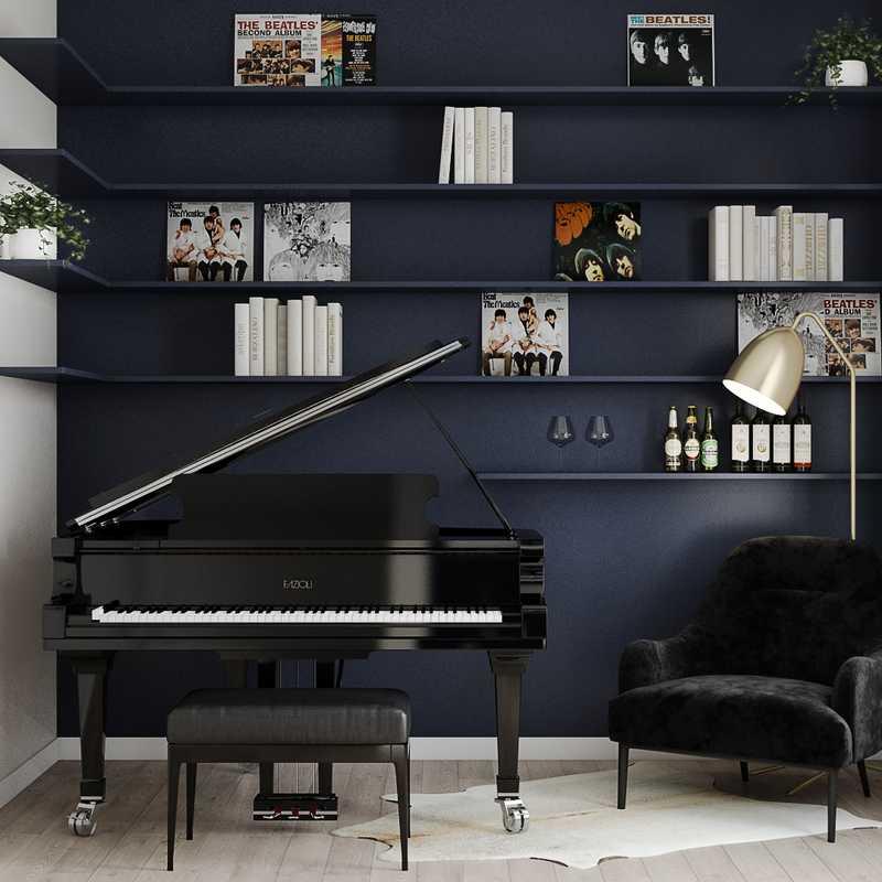 Industrial, Midcentury Modern, Scandinavian Office Design by Havenly Interior Designer Carsey