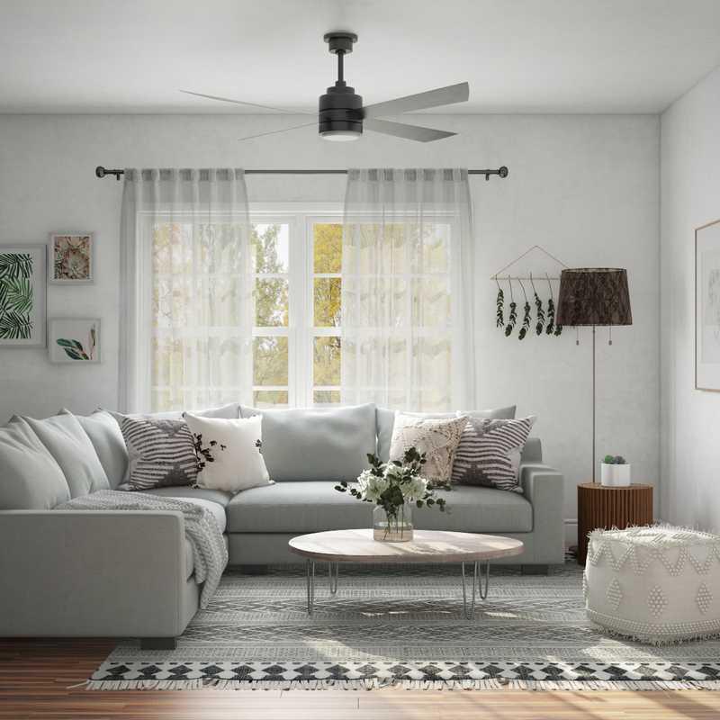 Bohemian, Midcentury Modern Living Room Design by Havenly Interior Designer Austin