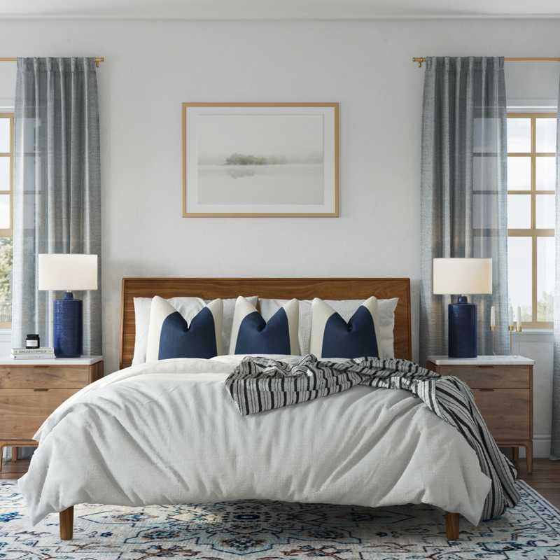 Bohemian, Coastal Bedroom Design by Havenly Interior Designer Lilly