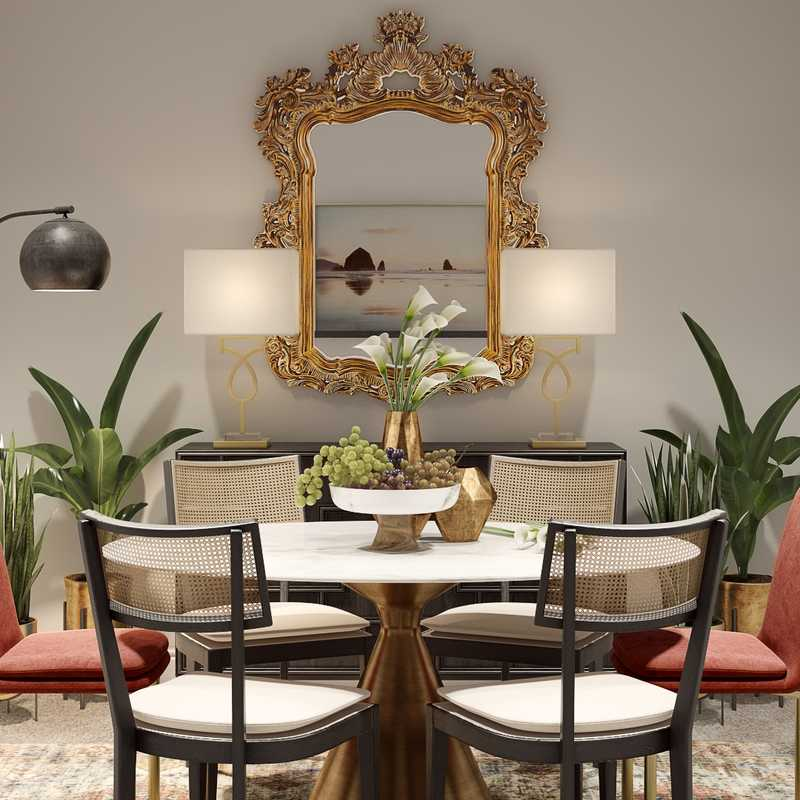 Bohemian, Midcentury Modern Dining Room Design by Havenly Interior Designer Ghianella