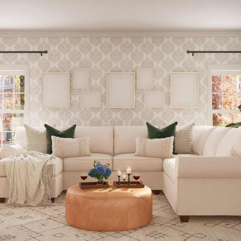 Classic, Farmhouse Living Room Design by Havenly Interior Designer Brady
