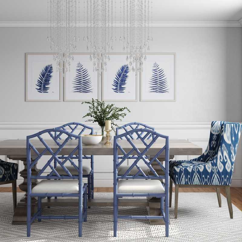 Glam, Preppy Dining Room Design by Havenly Interior Designer Legacy