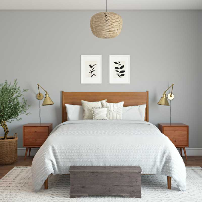 Bohemian, Midcentury Modern Bedroom Design by Havenly Interior Designer Chelsea