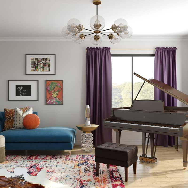 Eclectic, Midcentury Modern Living Room Design by Havenly Interior Designer Alexandra