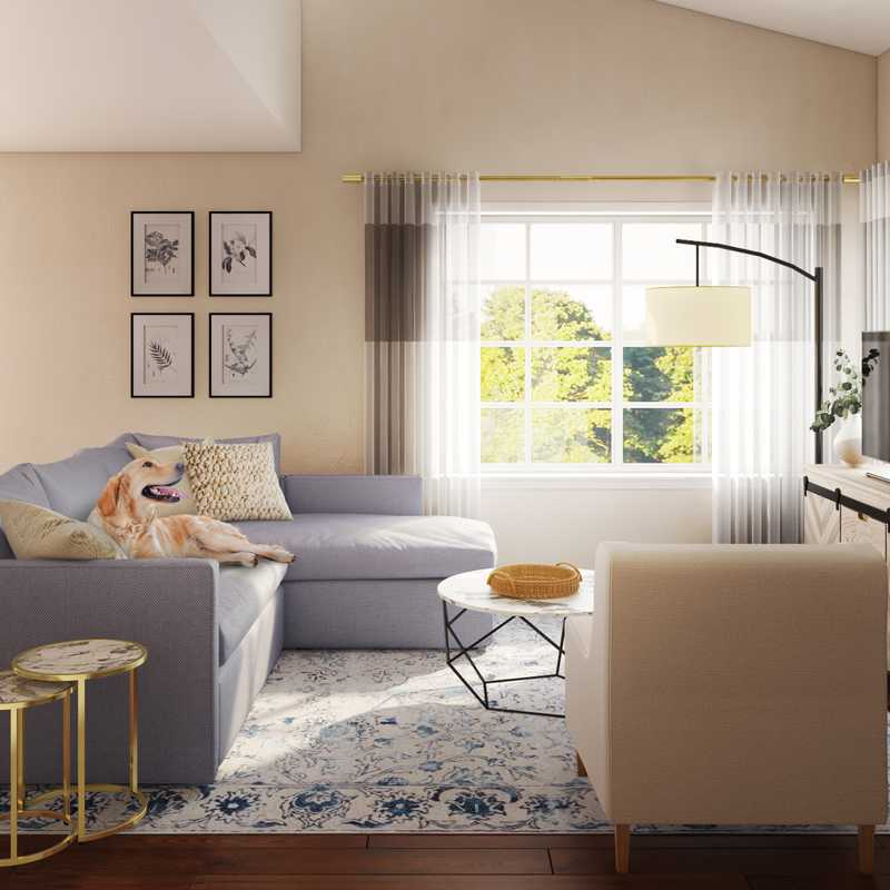Bohemian, Coastal, Midcentury Modern Living Room Design by Havenly Interior Designer Bethany