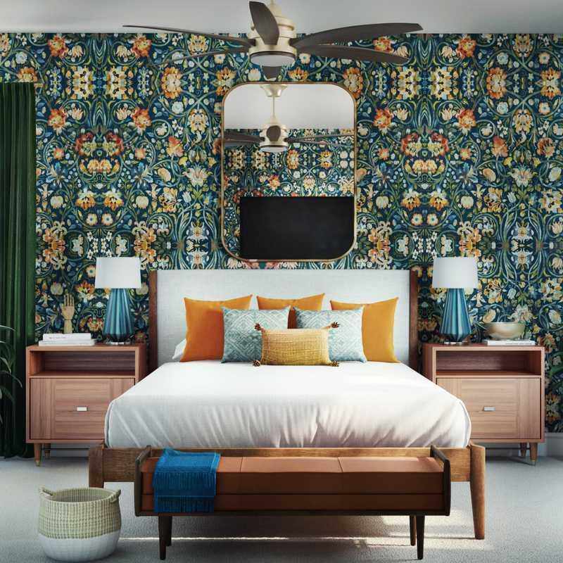 Midcentury Modern, Scandinavian Bedroom Design by Havenly Interior Designer Justin