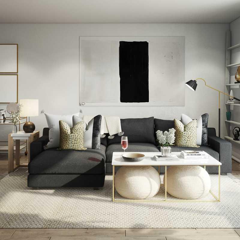 Contemporary Living Room Design by Havenly Interior Designer Kelcy