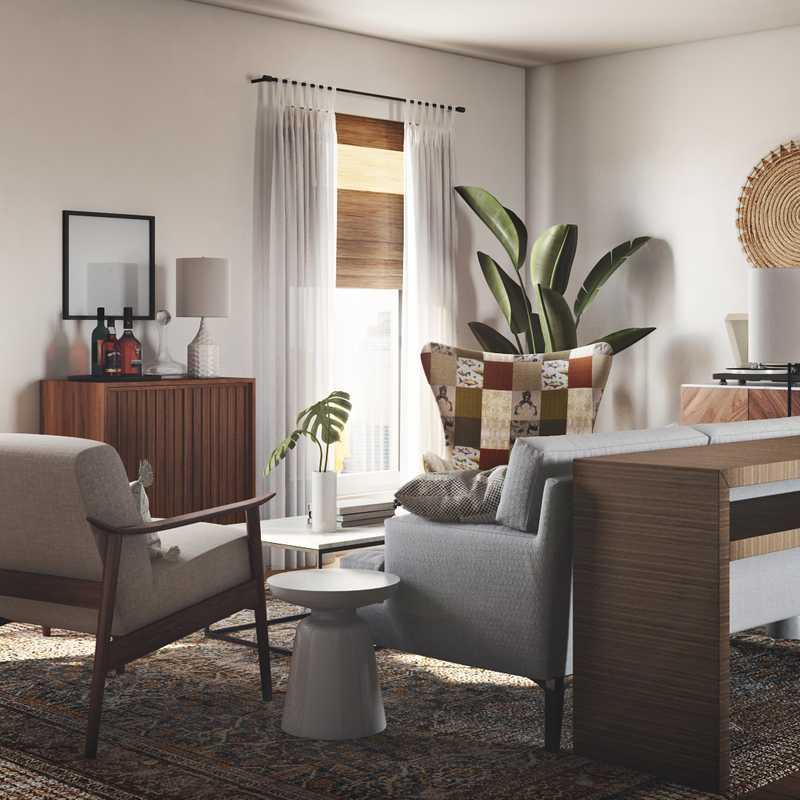 Bohemian, Midcentury Modern, Scandinavian Living Room Design by Havenly Interior Designer Abby