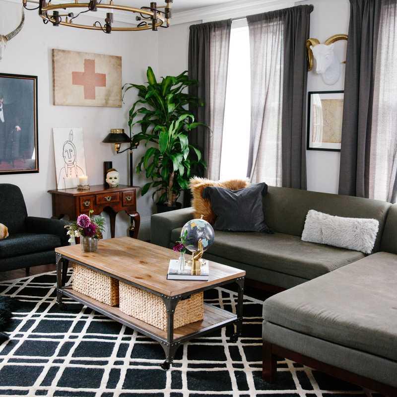 Contemporary Living Room Design by Havenly Interior Designer Stefany