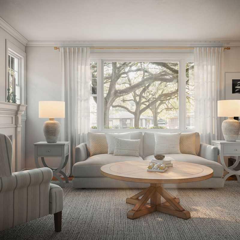 Coastal, Farmhouse Living Room Design by Havenly Interior Designer Heather