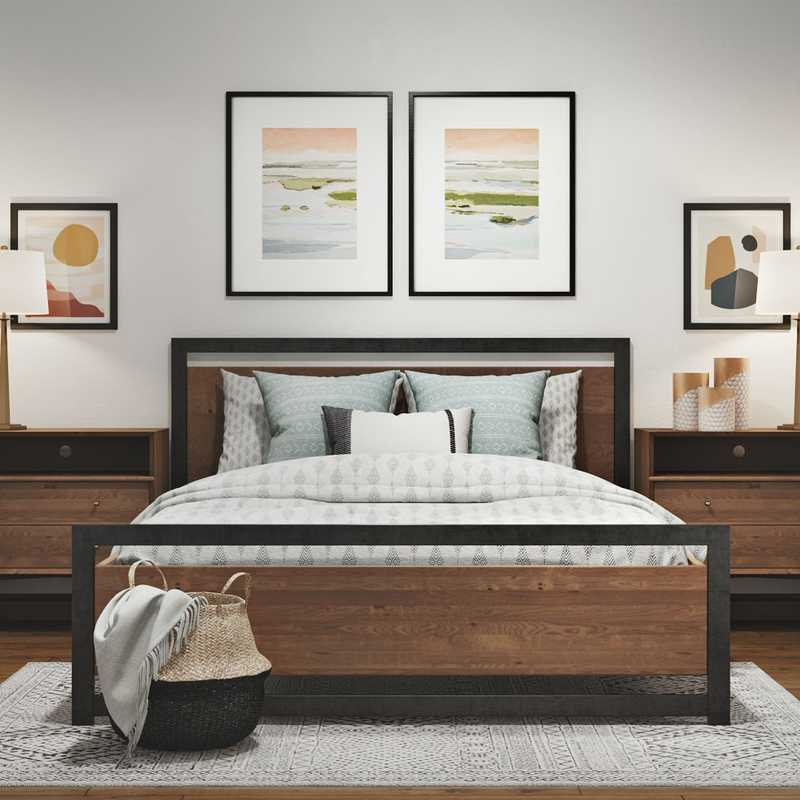 Modern, Industrial, Midcentury Modern Bedroom Design by Havenly Interior Designer Aubrey