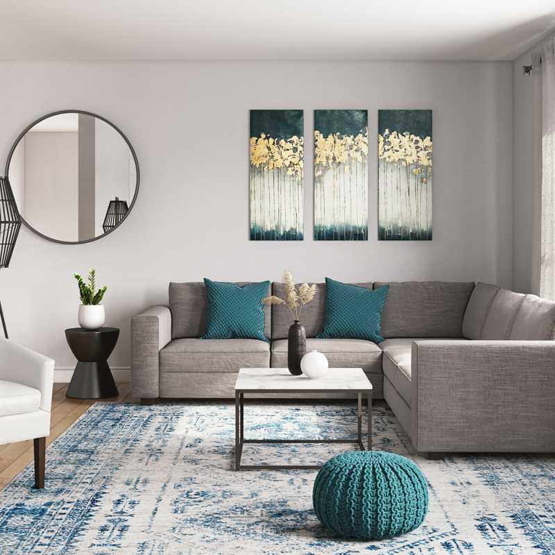 Eclectic, Bohemian, Coastal Living Room Design by Havenly Interior Designer Leslie