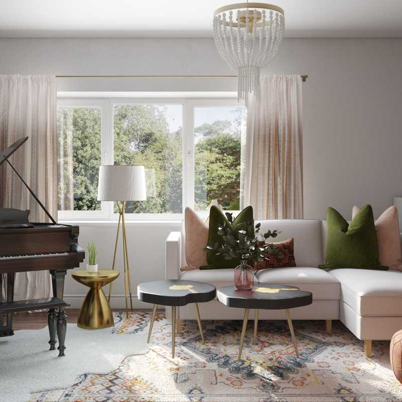 Eclectic, Bohemian, Midcentury Modern Living Room Design by Havenly Interior Designer Janice