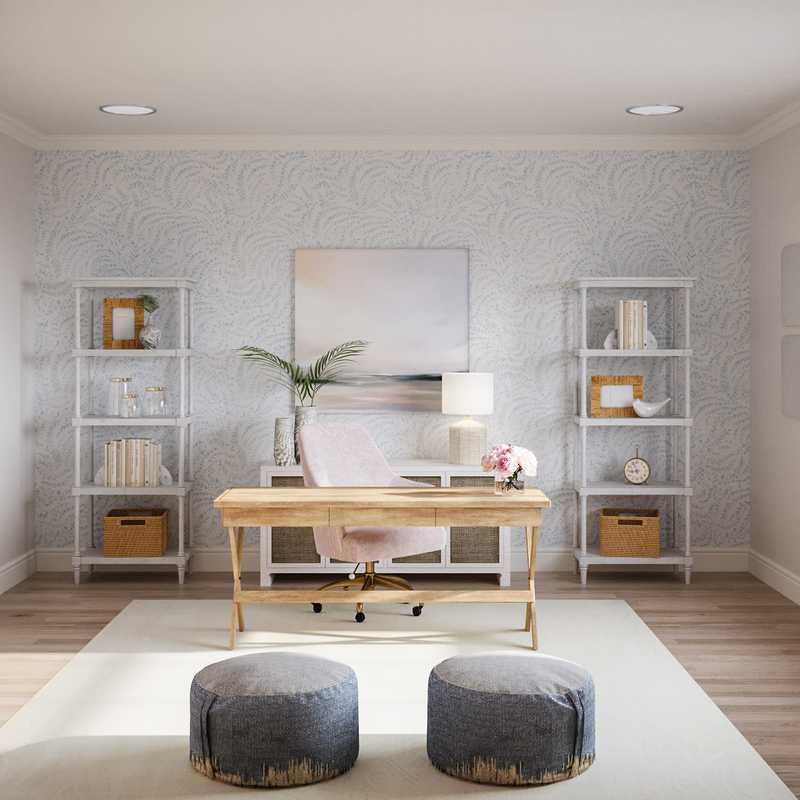 Classic, Bohemian, Coastal, Transitional, Preppy Office Design by Havenly Interior Designer Lisa