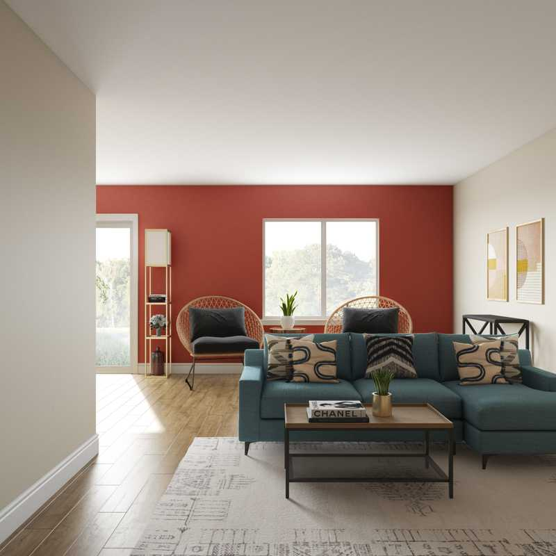 Contemporary, Eclectic, Global, Midcentury Modern Living Room Design by Havenly Interior Designer Roxy
